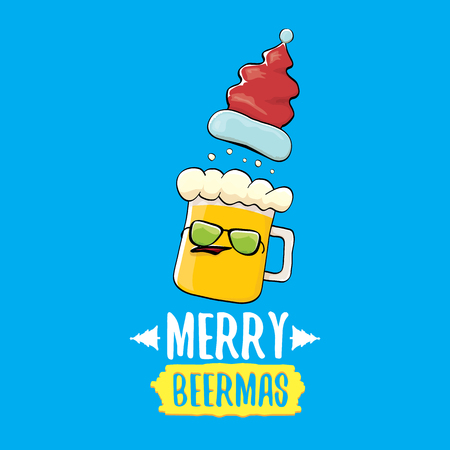 Merry beermas vector christmas greeting card with beer glass cartoon character and red santa hat isolated on blue background. Vector adult christmas beer party poster design template Stok Fotoğraf