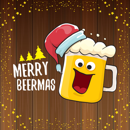 Merry beermas vector christmas greeting card with beer glass cartoon character and red santa hat isolated on wooden background. Vector funky christmas beer party poster design template Çizim