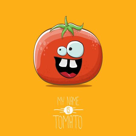 Vector de dibujos animados divertido lindo personaje de tomate rojo aislado sobre fondo naranja. Mi nombre es tomate. carácter funky vegetal de verano