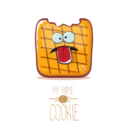 vector funny cookie character isolated on white background. My name is cookie concept illustration. funky food character or bakery label mascot Illustration