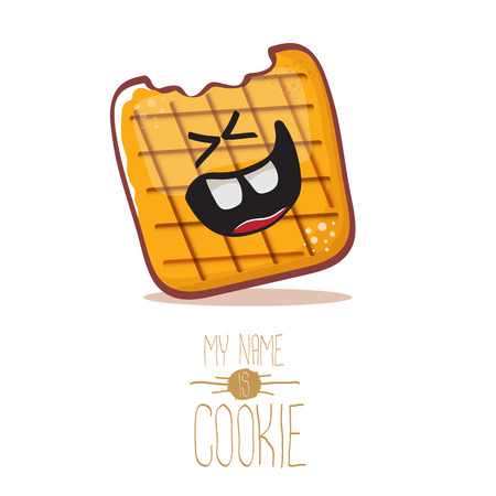 vector funny hand drawn cookie character isolated on white background. My name is cookie concept illustration. funky food character or bakery label mascot Illustration