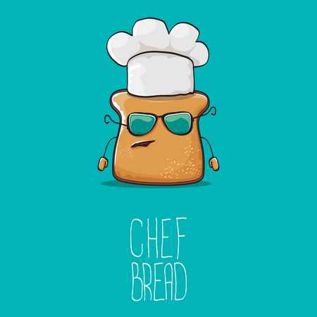 vector funky cartoon cute bread chef character with white chef hat isolated on turquoise background. My name is bread concept illustration