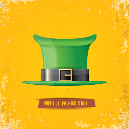 vector saint patricks day label with green hat and ribbon with text isolated on grunge orange background. saint patricks day poster or banner design template