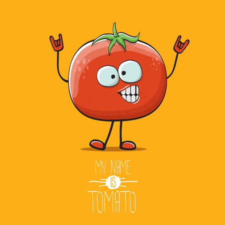 vector funny cartoon cute red tomato character isolated on orange background. My name is tomato. summer vegetable funky character
