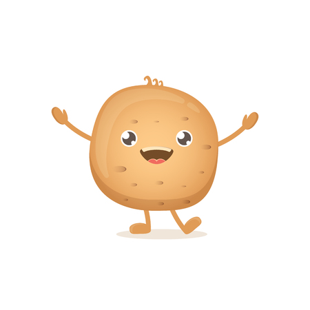 vector funny cartoon cute brown smiling tiny potato isolated on white background. vegetable funky character