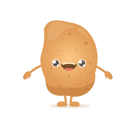 vector funny cartoon cute smiling tiny potato isolated on white background. vegetable funky character