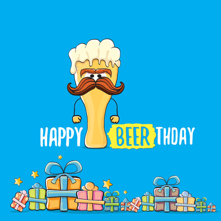 Happy Beerthday vector greeting card or background. Happy birthday party celebration poster with funky beer character and gifts