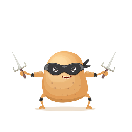 Personaje de papa ninja de dibujos animados vectoriales con máscara de superhéroe negro y cuchillo ninja sai aislado sobre fondo blanco. personaje de comida vegetal súper funky