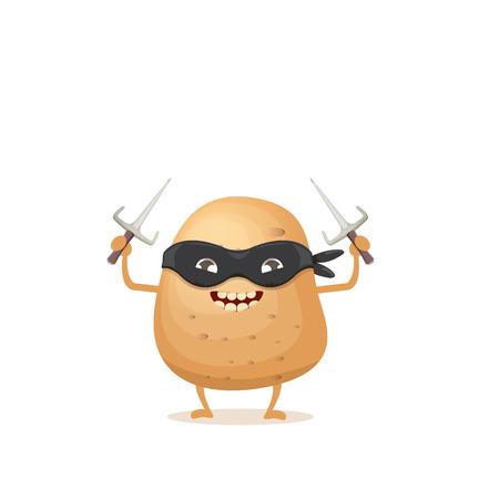 vector cartoon ninja potato character with black super hero mask and ninja knife sai isolated on white background. super funky vegetable food character