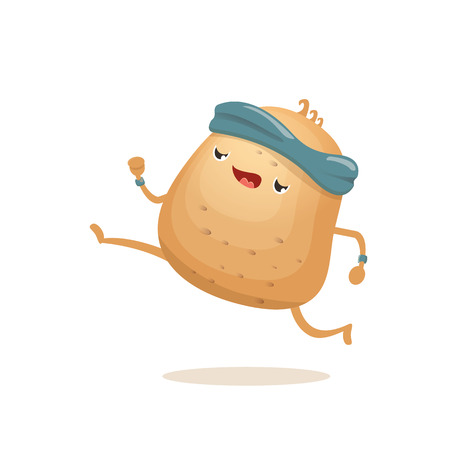 Cartoon funky potato character running or jogging isolated on white background. Cute sporty vegetable character making cardio sport exercise. Fitness cardio concept Illustration