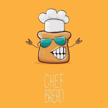 vector funky cartoon cute bread chef character with white chef hat isolated on orange background. My name is bread concept illustration. Bakery funky logo or mascot design template