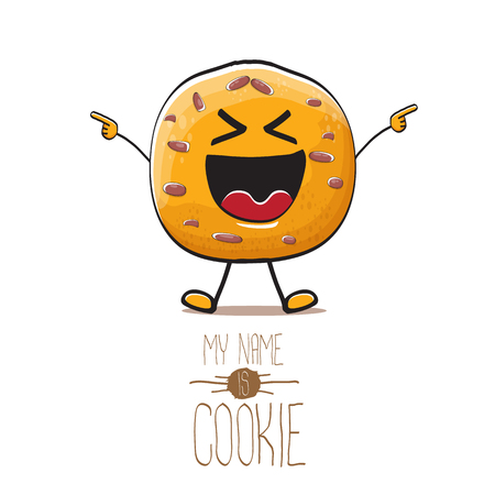 vector funny hand drawn homemade chocolate cookie character isolated on white background. My name is cookie concept illustration. funky food character or bakery label mascot