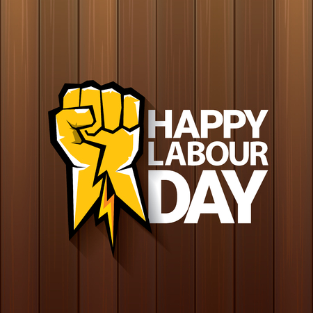 Happy labour day vector label with strong orange fist on wooden background. vector happy labor day background or banner with man hand. workers may day poster design 向量圖像