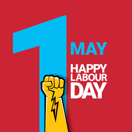 Happy labour day vector label with strong orange fist on red background. labor day background or banner with man hand. may day poster