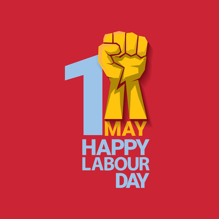 Happy labour day vector label with strong orange fist on red background. labor day background or banner with man hand. workers may day poster