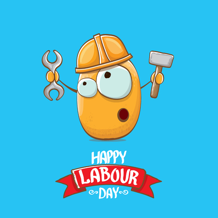 International workers day or labour day greeting card . vector funny cartoon brown smiling worker potato with engineer helmet holding hummer and wrench isolated on blue background. Mayday poster Vektorové ilustrace