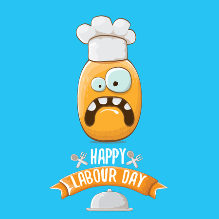 International workers day or labour day greeting card . vector funny cartoon tiny brown smiling chef potato with chef hat isolated on blue background. May day poster