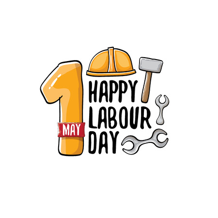 Cartoon Happy labor day vector label isolated on white. vector happy labor day background or banner with engineer helmet, hummer and wrench. workers may day poster