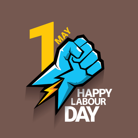 1 may - happy labor day. vector happy labour day poster or banner with clenched fist. workers day poster. labour day label or badge 向量圖像