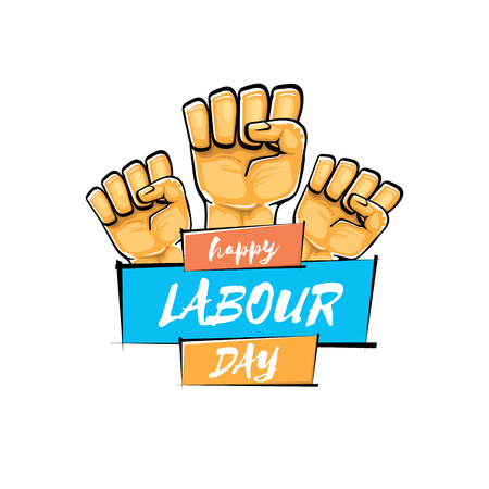 Happy labour day vector label with strong orange fist isolated on white background. vector happy labor day background with man hand. workers may day poster Ilustración de vector