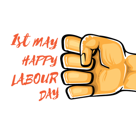 Happy labour day vector label with strong orange fist isolated on white background. vector happy labor day background with man hand. workers may day poster