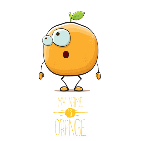 cartoon orange fruit character isolated on white background. My name is orange vector concept. vector super funky citrus fruit summer food character