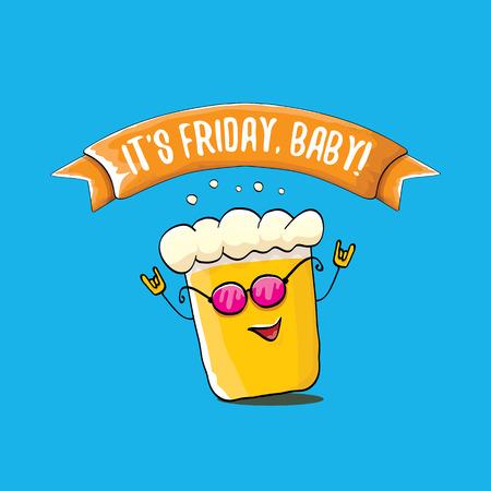 Zijn vrijdag baby cartoon vectorillustratie met funky bier karakter geïsoleerd op blauwe achtergrond. gelukkige vrijdag vector achtergrond Vector Illustratie