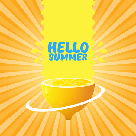 Vector Hello Summer Beach Party Flyer Design template with fresh lemon on orange sky with rays of light background. Hello summer concept label or poster with orange fruit and typographic text.