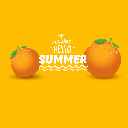 Vector Hello Summer label or flyer Design template with fresh orange fruit isolated on orange background. Hello summer concept label or poster with fruit and letternig text Ilustração