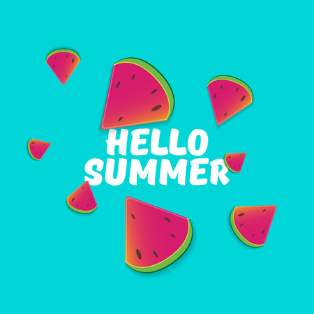 Vector Hello Summer Beach Party Flyer Design template with fresh watermelon slice isolated on azure background. Hello summer concept label or poster with fruit and typographic text.