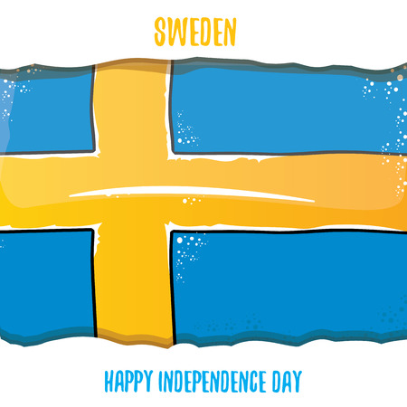 sweden indepedence day celebration banner with greeting text and swedish flag. vector swedish national day greeting card.