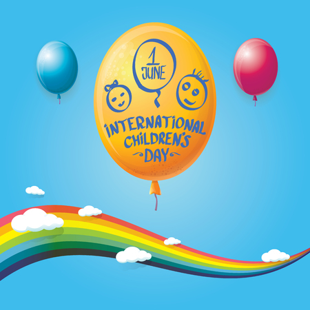 1 june international childrens day background. happy Children day greeting card with balloons, sky , rainbow and clouds. kids day poster