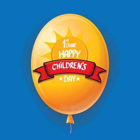 1 june international childrens day background. happy Children day greeting card with balloons in sky. kids day poster Banque d'images - 123016014