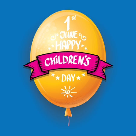 1 june international childrens day background. happy Children day greeting card with balloons in sky. kids day poster Banque d'images - 123016044