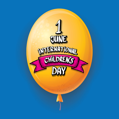 1 june international childrens day background. happy Children day greeting card with balloons in sky. kids day poster Banque d'images - 123016073