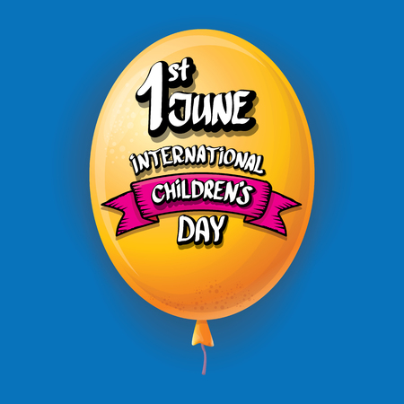 1 june international childrens day background. happy Children day greeting card with balloons in sky. kids day poster Banque d'images - 123016075