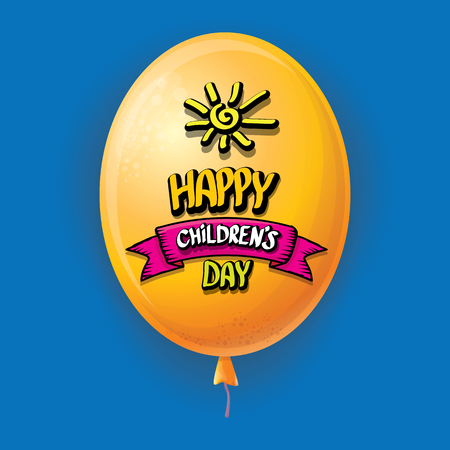 1 june international childrens day background. happy Children day greeting card with balloons in sky. kids day poster Banque d'images - 123016092