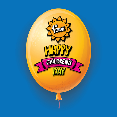 1 june international childrens day background. happy Children day greeting card with balloons in sky. kids day poster Banque d'images - 123016098
