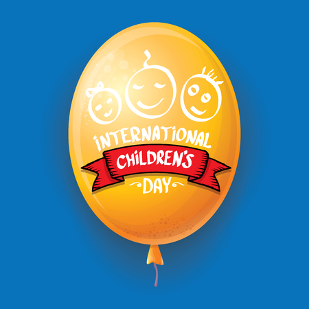 1 june international childrens day background. happy Children day greeting card with balloons in sky. kids day poster Banque d'images - 123016127