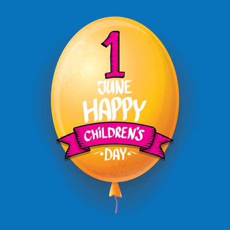 1 june international childrens day background. happy Children day greeting card with balloons in sky. kids day poster Banque d'images - 123016131