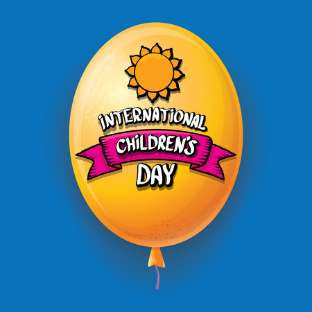 1 june international childrens day background. happy Children day greeting card with balloons in sky. kids day poster Banque d'images - 123016137
