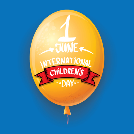 1 june international childrens day background. happy Children day greeting card with balloons in sky. kids day poster Banque d'images - 123016138