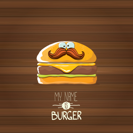 vector cartoon tiny burger character with cheese, meat and salad icon isolated on wooden background. my name is burger vector concept illustration