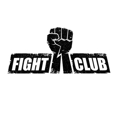 fight club vector logo or label with grunge black man fist isolated on white background. MMA Mixed martial arts concept design template. Fighting club label for print on tee