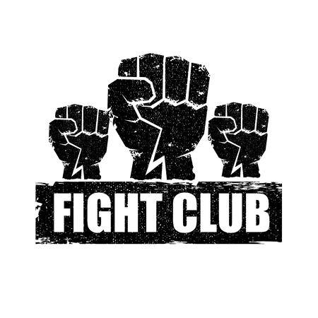 fight club vector logo or label with grunge black man fist isolated on white background. MMA Mixed martial arts concept design template. Fighting club label for print on tee Vectores