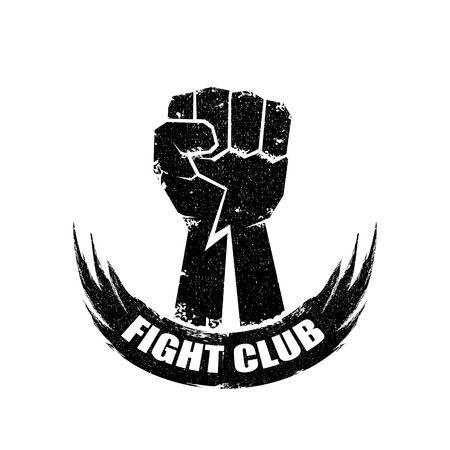 fight club vector logo or label with grunge black man fist isolated on white background. MMA Mixed martial arts concept design template. Fighting club label for print on tee Illustration