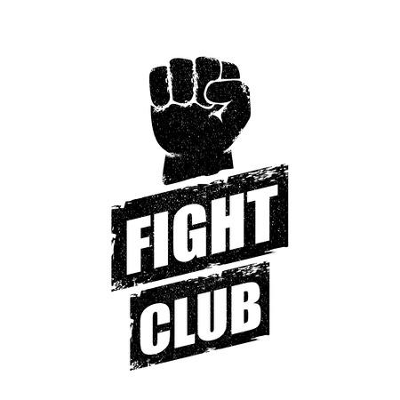 Kampfclub-Vektor-Logo oder Etikett mit Grunge schwarzer Mann Faust isoliert auf weißem Hintergrund. MMA Mixed Martial Arts Konzeptentwurfsvorlage. Fighting Club Label zum Aufdrucken auf dem T-Shirt