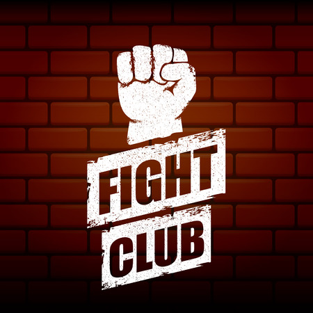 fight club vector logo or label with grunge black man fist isolated on brick wall background. MMA Mixed martial arts concept design template. Fighting club label for print on tee