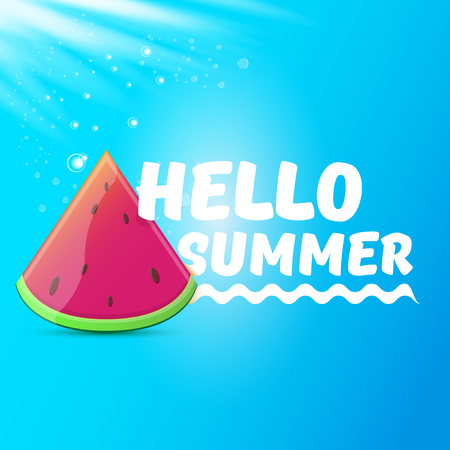 Vector Hello Summer Beach Party Flyer Design template with fresh watermelon slice isolated on blue sky background. Hello summer concept label or poster with fruit and typographic text