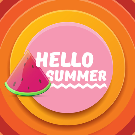 Vector Hello Summer Beach Party Flyer Design template with fresh watermelon slice isolated on abstract circle orange background. Hello summer concept label or poster with fruit and typographic text  イラスト・ベクター素材